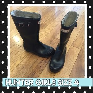 Hunter boots girls youth size 4 matte black boys 3